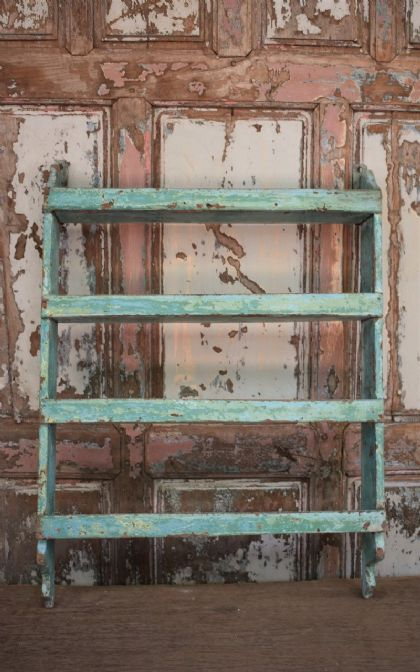 Vintage Teak Shelf with faded blue paint tones <b>SOLD<b>
